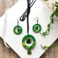 Minimalist Boho Hippie Fine Jewelry Polymer Clay Statement Earrings Necklace Set