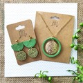 Surgical Steel Green Minimalist Boho Polymer Clay Statement Earring Necklace Set