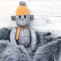 'Arnold' the Sock Monkey - grey with white spots & mustard - *MADE TO ORDER*