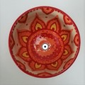 F*ck bowl gift, unique handmade red  yellow orange clay hand painted