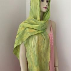 Nuno felted scarf silk merino