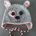 Girls crochet puppy dog hat Size 4 - 6 year old