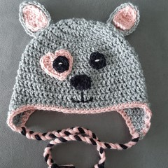 Girls crochet puppy dog hat Size 4 - 6 year old