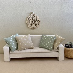 Miniature Spotty dollhouse throw pillows