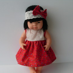 Miniland doll dress and headband 38cm dolls clothes.