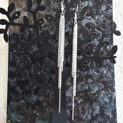 Super Long Minimal Modern chain Fringe Tassel dangling earrings , Silver No 3