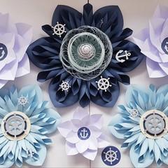 Paper Flower backdrop Nautical Theme /baby shower/its a boy decor