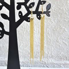 Super Long Unique Modern chain Fringe Tassel dangling earrings , Gold No 1