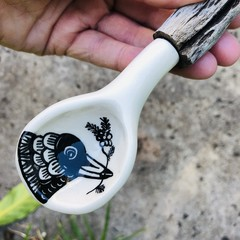Driftwood ceramic salt spoon