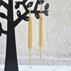 Super Long Unique Modern chain Fringe Tassel dangling earrings , Gold No 3