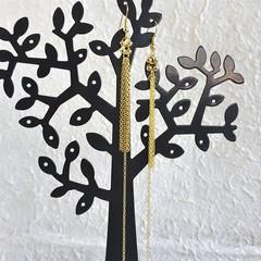 Super Long Unique Modern chain Fringe Tassel dangling earrings , Gold No 2