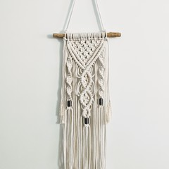 Macrame wall hanging, bronze tube beads, natural wood rod