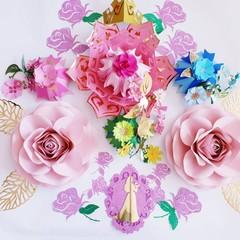 Paper flowers Set, Princess Aurora,Sleeping beauty,Nursery decor,Wall decor
