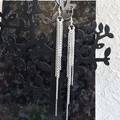 Super Long Minimal Modern chain Fringe Tassel dangling earrings , Silver No 1
