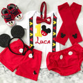 2-pcs Set Personalised Mickey Inspired Birthday mickey ribbon suspenders outfit