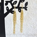 Vintage Mid century style Long chain Fringe Tassel dangling earrings , Gold No 1