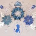 Paper flower backdrop, paper flower set, frozen inspired, princess elsa inspired