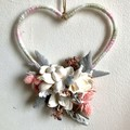 Love - Heart floral hoop - Dried flower - 15cm - Natural -  Bridesmaid - Boho