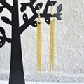 Super Long Unique Modern chain Fringe Tassel dangling earrings , Gold No 1
