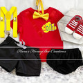 3-pcs Personalised Red Wiggles inspired birthday outfit
