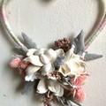 Love - Heart floral hoop - Dried flower - 15cm - Natural -  Bridesmaid - Boho