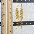 Vintage Mid century style Long chain Fringe Tassel dangling earrings , Gold No 2