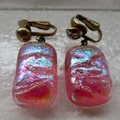 Fused glass & dichroic drop earrings.