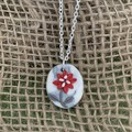 Royal Red Floral Silver Necklace