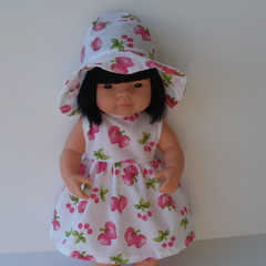Miniland doll dress with hat made by The Dolls Boutique.