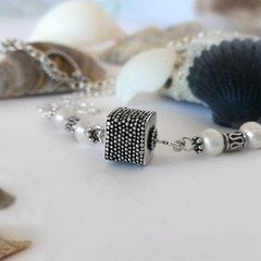 Sterling silver granulated Bali bead and pearl handcrafted bohemian necklace