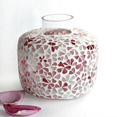 Pink Floral Mosaic Vase