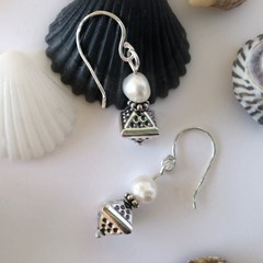 Geometric sterling silver and pearl bohemian handcrafted earrings