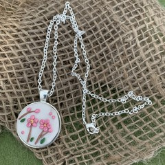 Baby Pink Floral Silver Necklace