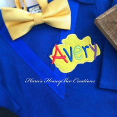 3-pcs Personalised Blue Wiggles inspired birthday outfit