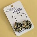 Black, Gold, White Glitter Orb Earrings