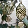 Venetian style hand blown glass bead earrings - green & purple swirls.