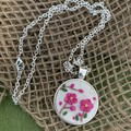 Hot Pink Floral Silver Necklace