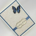 Thinking of You Card - heavily textured cream, denim blue and acetate butterfly