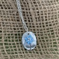 Pearl Blue Floral Silver Necklace