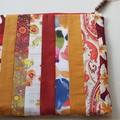 Zippered Pouch - Scrap Fabric - Red, Orange and Yellow Tones
