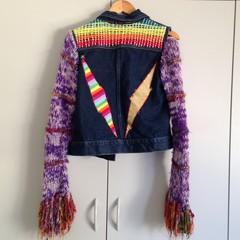 Free Spirit Jacket-M Size, upcycled one off denim, wool and rainbow weave jacket