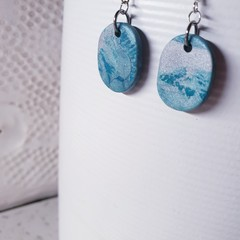 SOLD for Laura J RIVER teal turquoise blue grey swirly polymer clay drop dangle