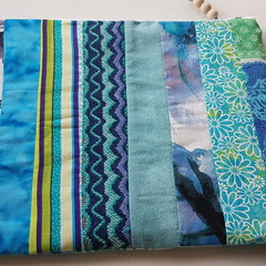 Zippered Pouch - Scrap Fabric - Blue, Teal White & Green Tones