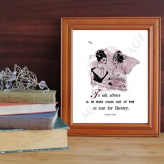 Quote print by Churton Collins about flattery and advice with illustration and c