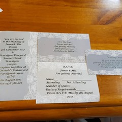 GREY AND WHITE LACE WEDDING STATIONERY PACKAGE