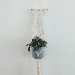Macrame wall hanging planter, pot plant holder