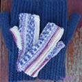 Fingerless mitts toddler wool/Nylon  striped