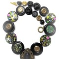 Black and gold  button necklace - Black Magic