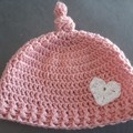 Girls crochet top knot hat Size 4 - 6 year old
