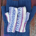 Fingerless mitts toddler wool/Nylon  striped